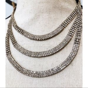 WINDSOR 3 tier Rhinestoned Necklace